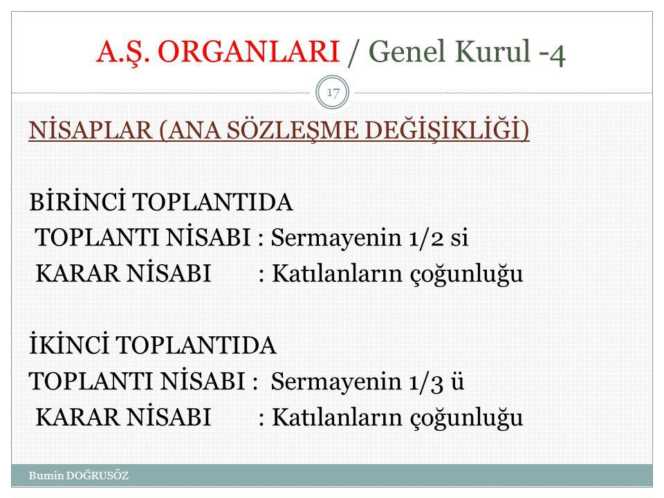 A.Ş. ORGANLARI / Genel Kurul -4 NİSAPLAR (ANA SÖZLEŞME DEĞİŞİKLİĞİ) BİRİNCİ TOPLANTIDA TOPLANTI NİSABI : Sermayenin 1/2 si KARAR NİSABI : Katılanların