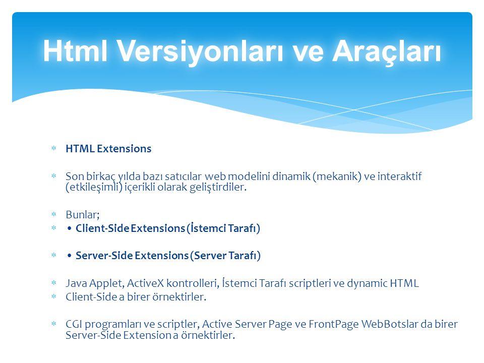  HTML Extensions  Son birkaç yılda bazı satıcılar web modelini dinamik (mekanik) ve interaktif (etkileşimli) içerikli olarak geliştirdiler.
