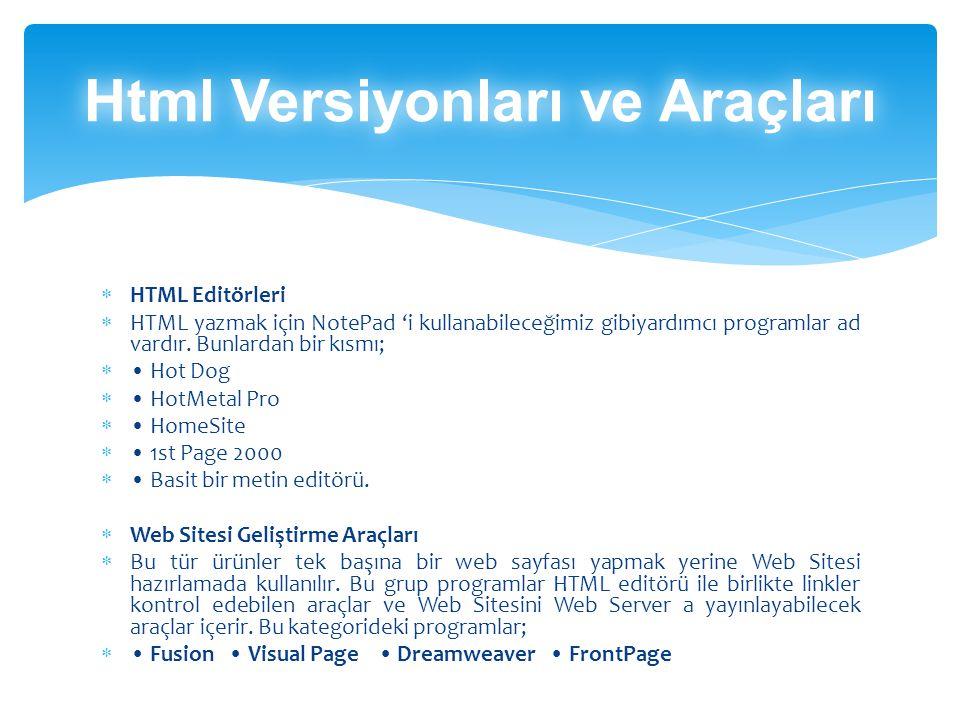  HTML Editörleri  HTML yazmak için NotePad 'i kullanabileceğimiz gibiyardımcı programlar ad vardır.