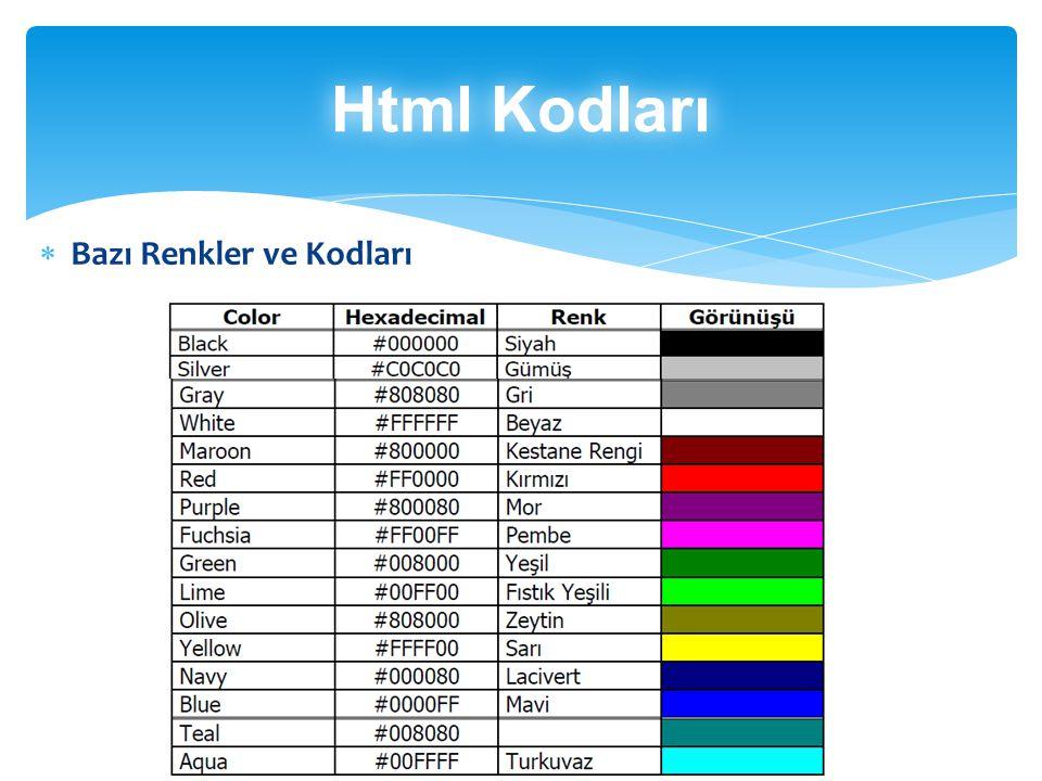  Bazı Renkler ve Kodları Html Kodları