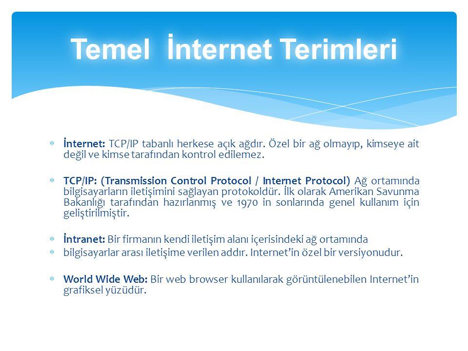 İnternet: TCP/IP tabanlı herkese açık ağdır.