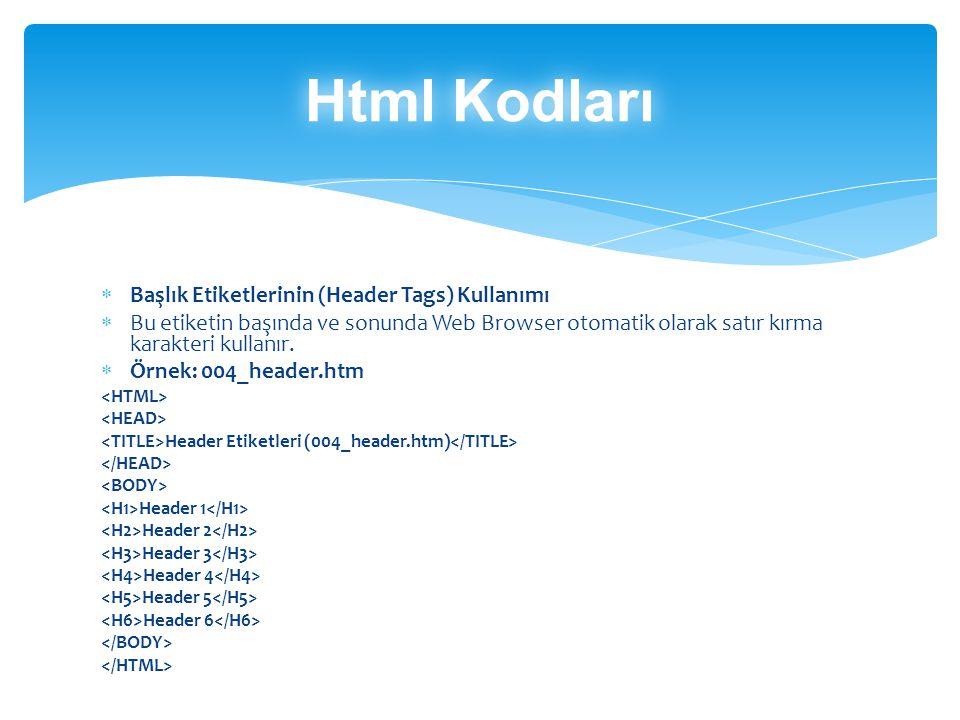  Başlık Etiketlerinin (Header Tags) Kullanımı  Bu etiketin başında ve sonunda Web Browser otomatik olarak satır kırma karakteri kullanır.