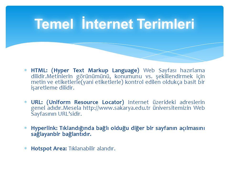  HTTP: (Hyper Text Transfer Protocol) HTML sayfalarının Web tarayıcınıza  aktarılmasında kullanılan protokoldür.