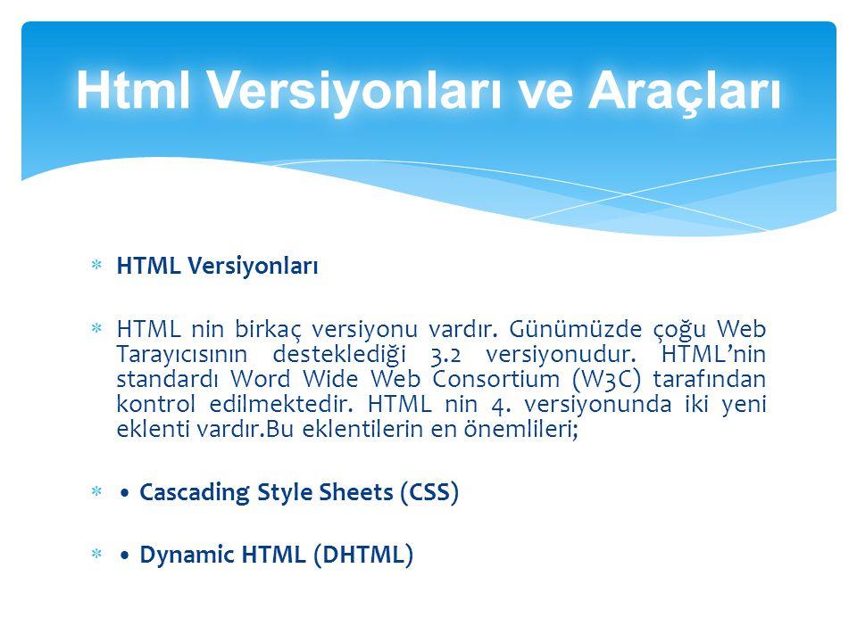  HTML Versiyonları  HTML nin birkaç versiyonu vardır.