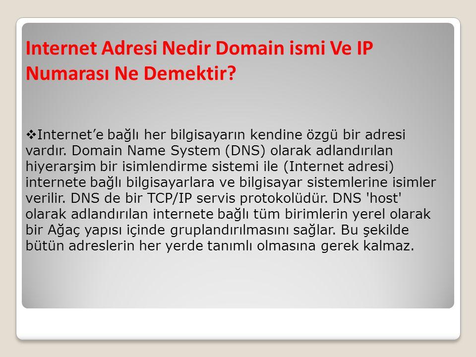 Internet Adresi Nedir Domain ismi Ve IP Numarası Ne Demektir?  Internet'e bağlı her bilgisayarın kendine özgü bir adresi vardır. Domain Name System (