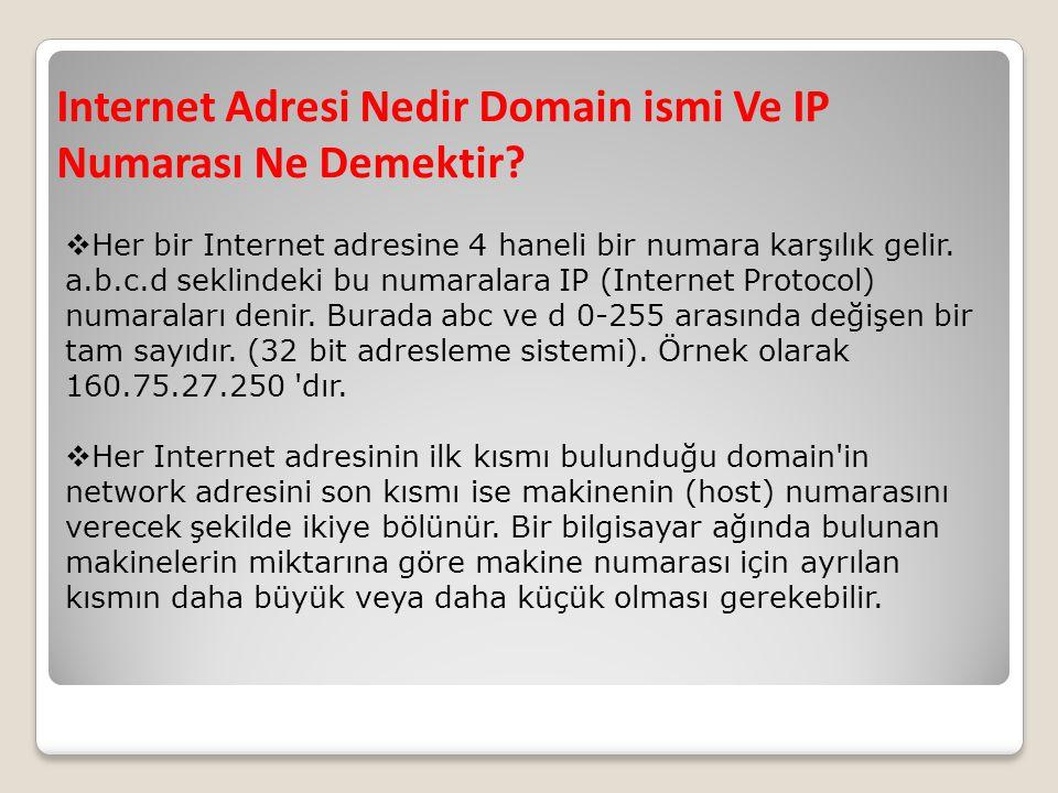 Internet Adresi Nedir Domain ismi Ve IP Numarası Ne Demektir?  Her bir Internet adresine 4 haneli bir numara karşılık gelir. a.b.c.d seklindeki bu nu