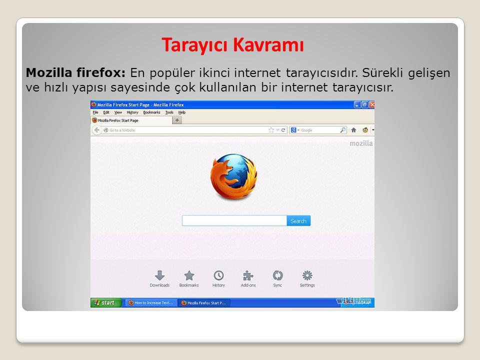 Tarayıcı Kavramı Mozilla firefox: En popüler ikinci internet tarayıcısıdır. Sürekli gelişen ve hızlı yapısı sayesinde çok kullanılan bir internet tara