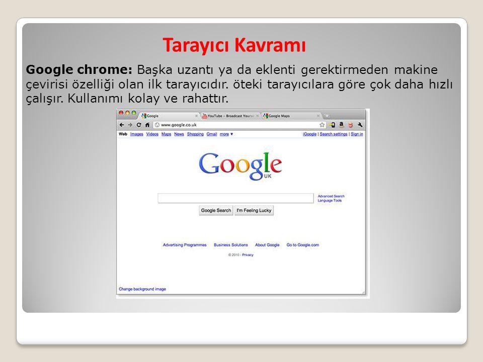 Tarayıcı Kavramı Google chrome: Başka uzantı ya da eklenti gerektirmeden makine çevirisi özelliği olan ilk tarayıcıdır. öteki tarayıcılara göre çok da