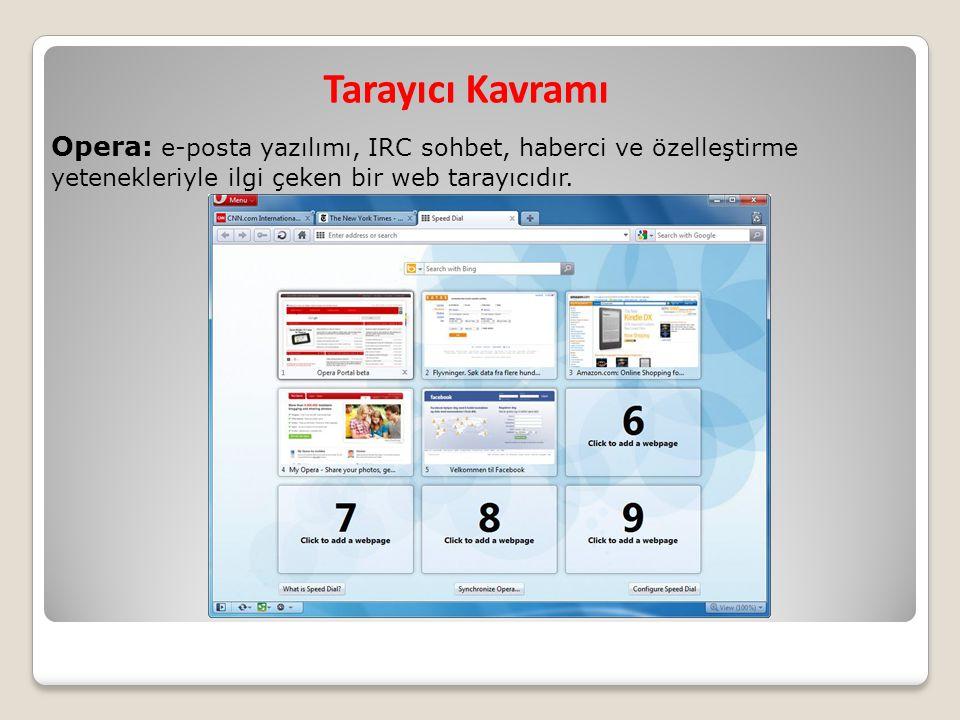 Tarayıcı Kavramı Opera: e-posta yazılımı, IRC sohbet, haberci ve özelleştirme yetenekleriyle ilgi çeken bir web tarayıcıdır.