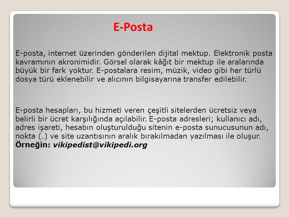 E-Posta E-posta, internet üzerinden gönderilen dijital mektup. Elektronik posta kavramının akronimidir. Görsel olarak kâğıt bir mektup ile aralarında