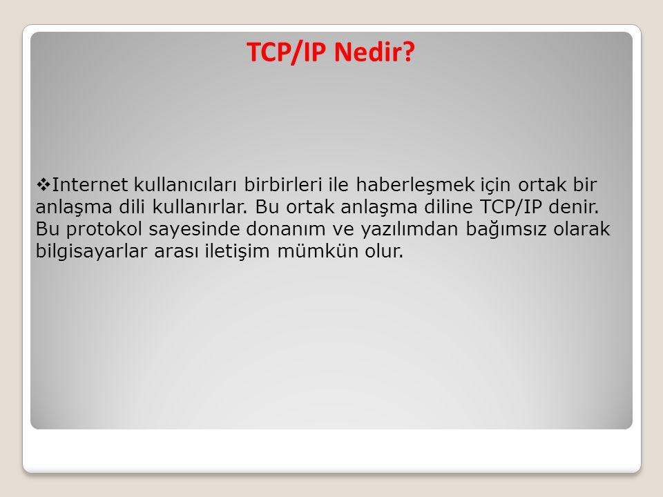 TCP/IP Nedir?  Internet kullanıcıları birbirleri ile haberleşmek için ortak bir anlaşma dili kullanırlar. Bu ortak anlaşma diline TCP/IP denir. Bu pr