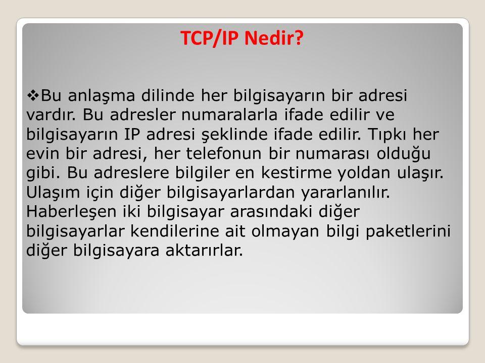 TCP/IP Nedir?  Bu anlaşma dilinde her bilgisayarın bir adresi vardır. Bu adresler numaralarla ifade edilir ve bilgisayarın IP adresi şeklinde ifade e