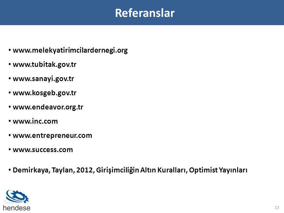 Referanslar 13 • www.melekyatirimcilardernegi.org • www.tubitak.gov.tr • www.sanayi.gov.tr • www.kosgeb.gov.tr • www.endeavor.org.tr • www.inc.com • www.entrepreneur.com • www.success.com • Demirkaya, Taylan, 2012, Girişimciliğin Altın Kuralları, Optimist Yayınları