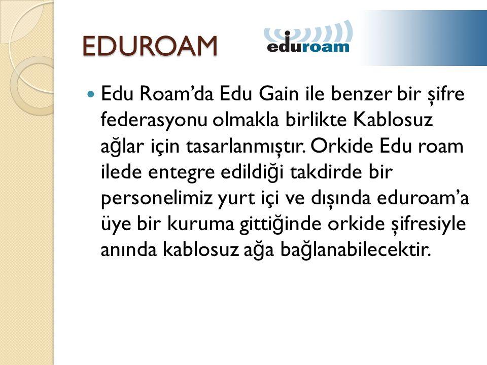 EDUROAM  Edu Roam'da Edu Gain ile benzer bir şifre federasyonu olmakla birlikte Kablosuz a ğ lar için tasarlanmıştır.