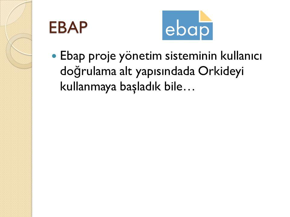 EBAP  Ebap proje yönetim sisteminin kullanıcı do ğ rulama alt yapısındada Orkideyi kullanmaya başladık bile…
