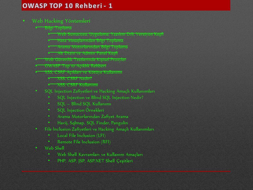 • Web Hacking Yöntemleri • Bilgi Toplama • Web Sunucusu, Uygulama, Yazılım Dili, Versiyon Keşfi • Hata Mesajlarından Bilgi Toplama • Arama Motorlarınd