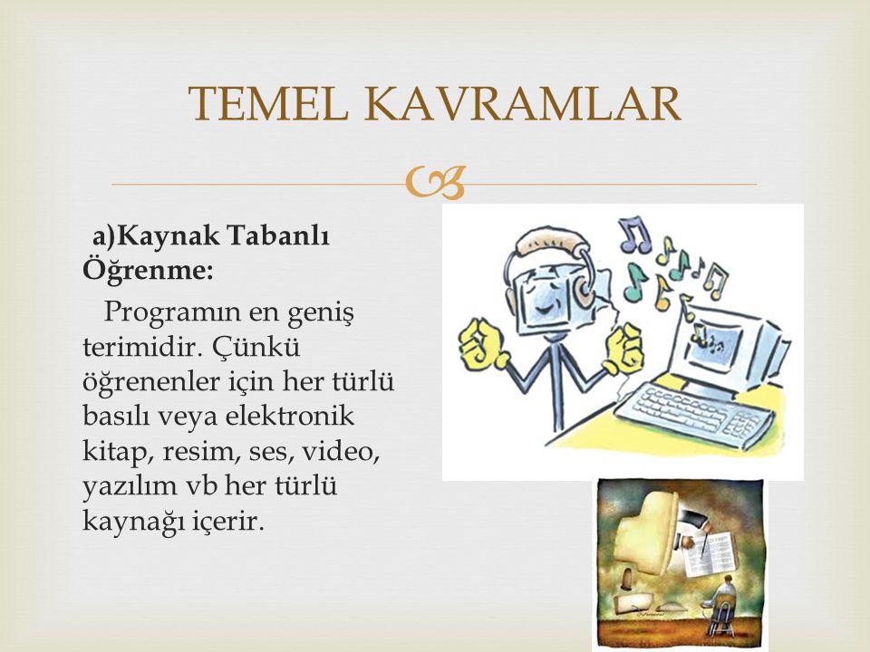  a)Kaynak Tabanlı Öğrenme: Programın en geniş terimidir. Çünkü öğrenenler için her türlü basılı veya elektronik kitap, resim, ses, video, yazılım vb