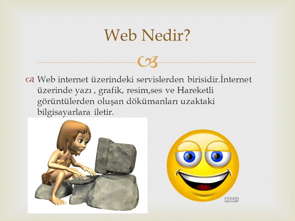   Web internet üzerindeki servislerden birisidir.İnternet üzerinde yazı, grafik, resim,ses ve Hareketli görüntülerden oluşan dökümanları uzaktaki bi