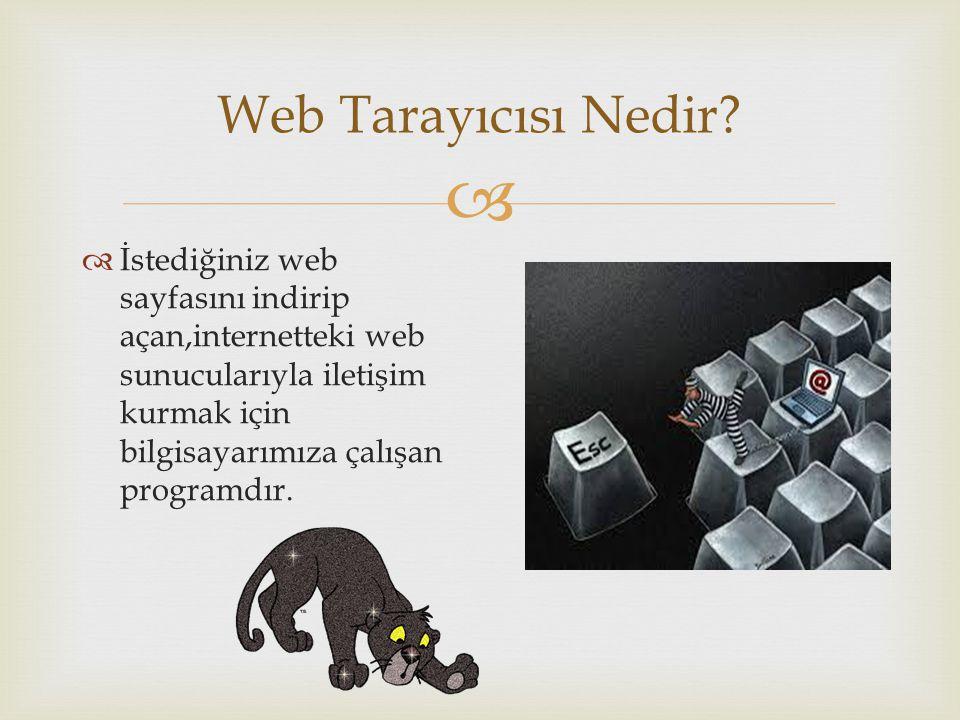 Web Tarayıcısı Nedir?  İstediğiniz web sayfasını indirip açan,internetteki web sunucularıyla iletişim kurmak için bilgisayarımıza çalışan programdı