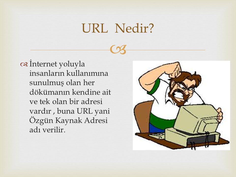  URL Nedir?  İnternet yoluyla insanların kullanımına sunulmuş olan her dökümanın kendine ait ve tek olan bir adresi vardır, buna URL yani Özgün Kayn