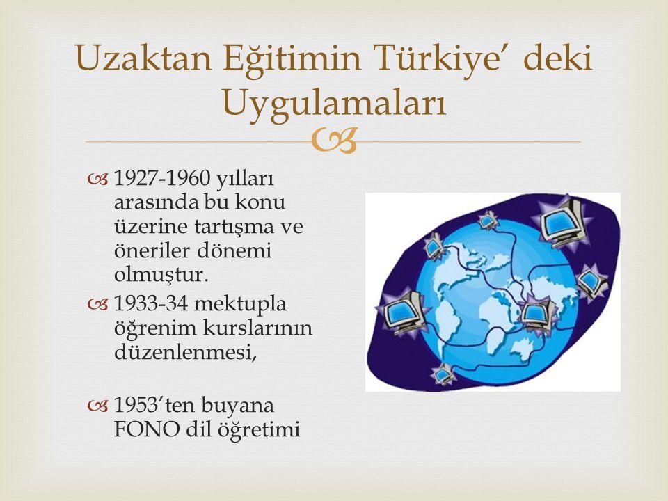  Uzaktan Eğitimin Türkiye' deki Uygulamaları  1927-1960 yılları arasında bu konu üzerine tartışma ve öneriler dönemi olmuştur.  1933-34 mektupla öğ