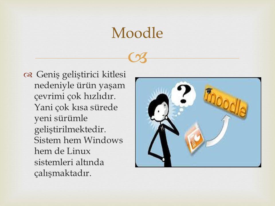  Moodle  Geniş geliştirici kitlesi nedeniyle ürün yaşam çevrimi çok hızlıdır. Yani çok kısa sürede yeni sürümle geliştirilmektedir. Sistem hem Windo