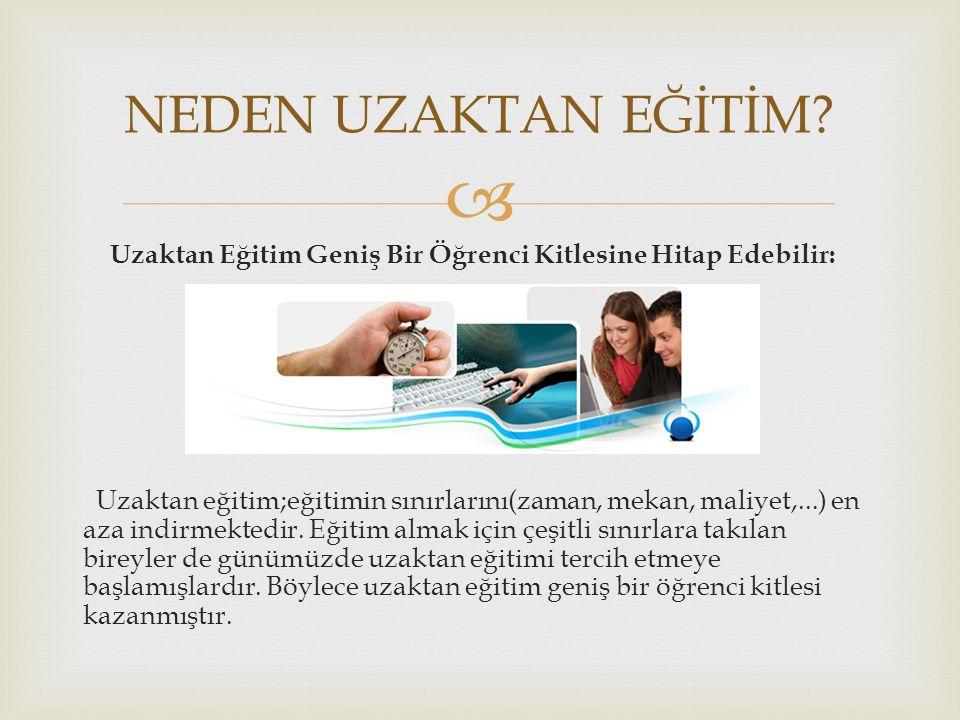  Uzaktan Eğitimin Türkiye' deki Uygulamaları  1995'te Fırat Üniversitesi web destekli öğretime başladı  1997 Sakarya Üniversitesi'nde internet destekli öğretim başladı  Mayıs 1997 ODTÜ internet ile eğitim konusunda çalışmalarını sürdürmüştür.