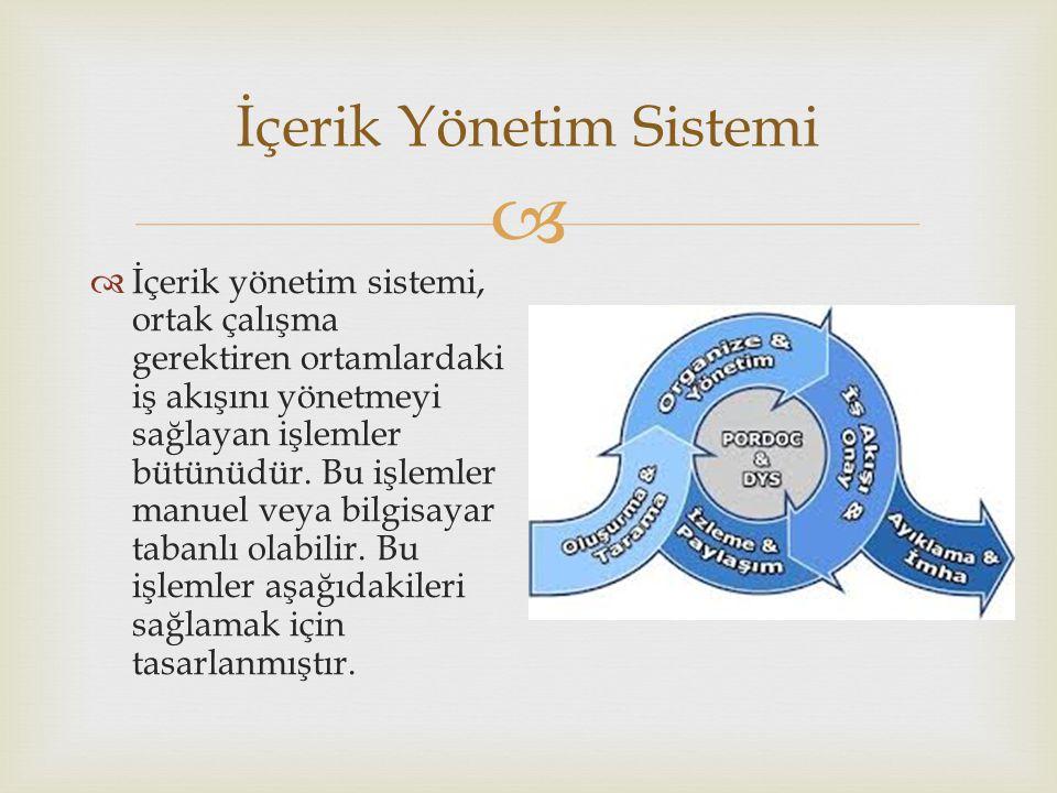  İçerik Yönetim Sistemi  İçerik yönetim sistemi, ortak çalışma gerektiren ortamlardaki iş akışını yönetmeyi sağlayan işlemler bütünüdür. Bu işlemler