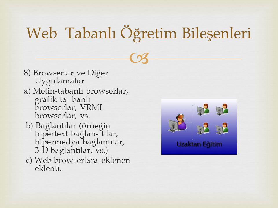  Web Tabanlı Öğretim Bileşenleri 8) Browserlar ve Diğer Uygulamalar a) Metin-tabanlı browserlar, grafik-ta- banlı browserlar, VRML browserlar, vs. b)