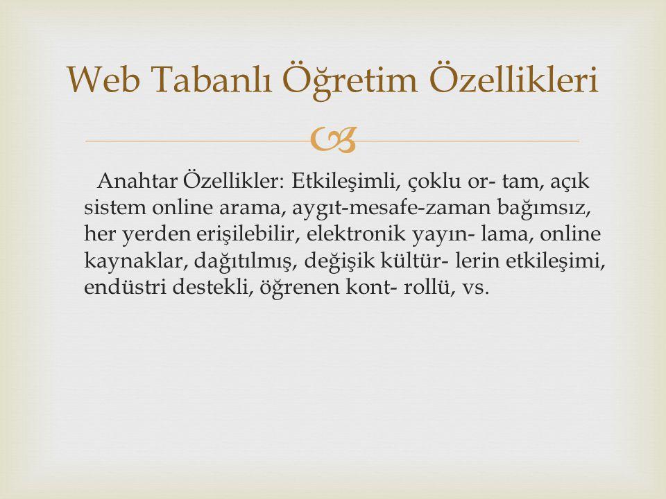  Anahtar Özellikler: Etkileşimli, çoklu or- tam, açık sistem online arama, aygıt-mesafe-zaman bağımsız, her yerden erişilebilir, elektronik yayın- la