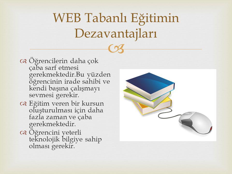  WEB Tabanlı Eğitimin Dezavantajları  Öğrencilerin daha çok çaba sarf etmesi gerekmektedir.Bu yüzden öğrencinin irade sahibi ve kendi başına çalışma