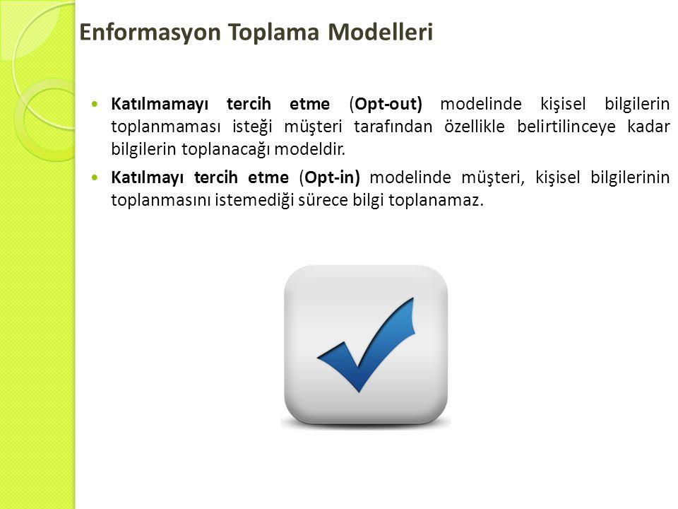 Enformasyon Toplama Modelleri  Katılmamayı tercih etme (Opt-out) modelinde kişisel bilgilerin toplanmaması isteği müşteri tarafından özellikle belirt