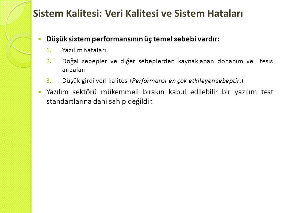 Sistem Kalitesi: Veri Kalitesi ve Sistem Hataları  Düşük sistem performansının üç temel sebebi vardır: 1.Yazılım hataları, 2.Doğal sebepler ve diğer