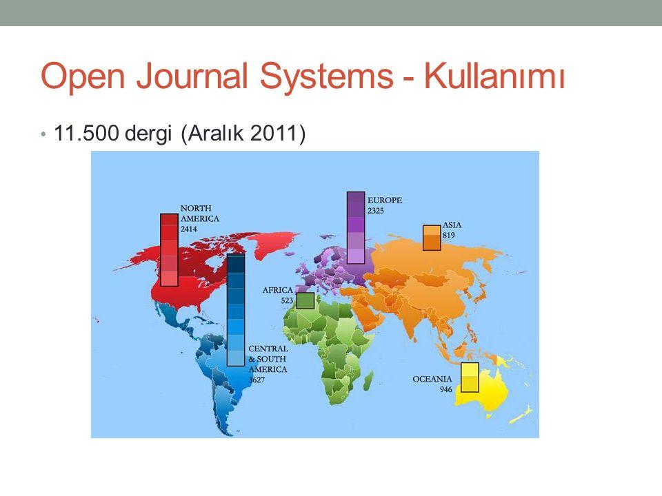 Open Journal Systems - Kullanımı • 11.500 dergi (Aralık 2011)