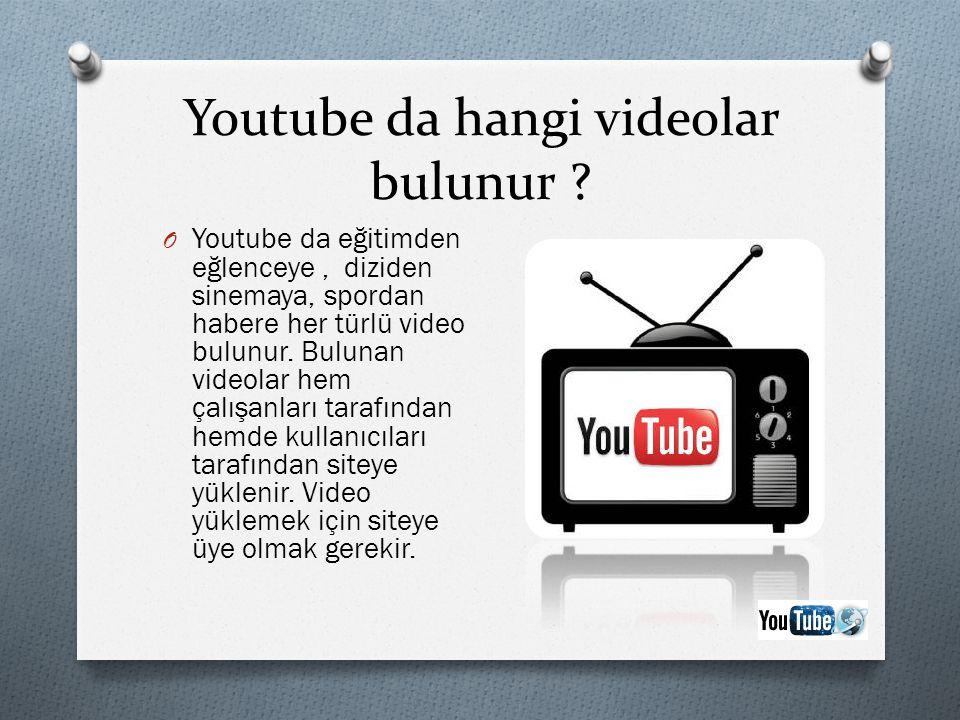 Youtube da hangi videolar bulunur ? O Youtube da eğitimden eğlenceye, diziden sinemaya, spordan habere her türlü video bulunur. Bulunan videolar hem ç