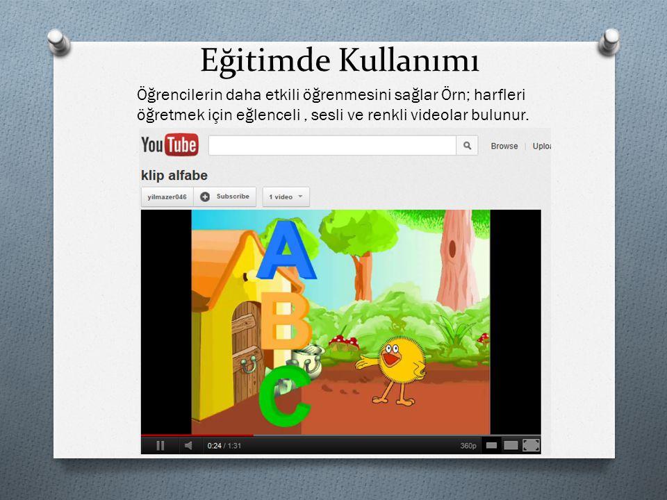 Eğitimde Kullanımı Öğrencilerin daha etkili öğrenmesini sağlar Örn; harfleri öğretmek için eğlenceli, sesli ve renkli videolar bulunur.