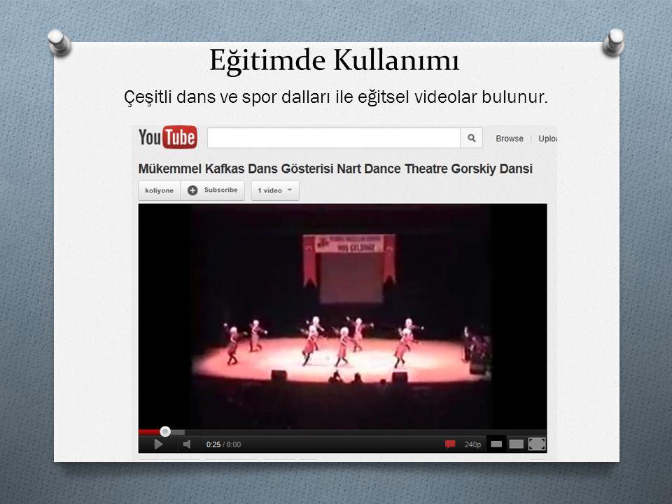 Eğitimde Kullanımı Çeşitli dans ve spor dalları ile eğitsel videolar bulunur.