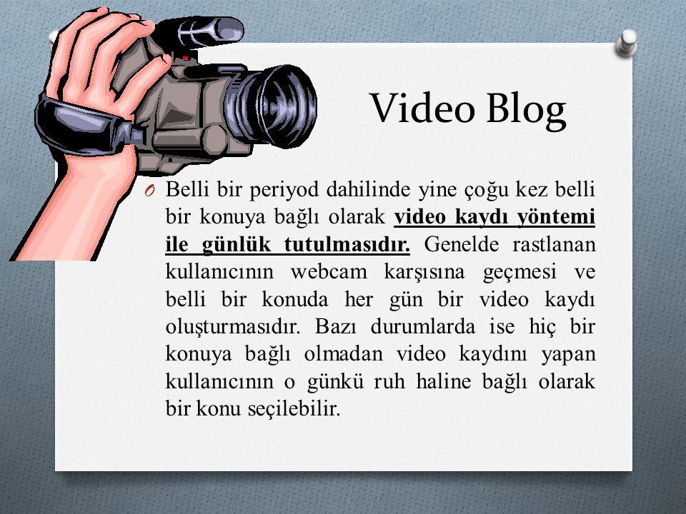 Video Blog O Belli bir periyod dahilinde yine çoğu kez belli bir konuya bağlı olarak video kaydı yöntemi ile günlük tutulmasıdır. Genelde rastlanan ku