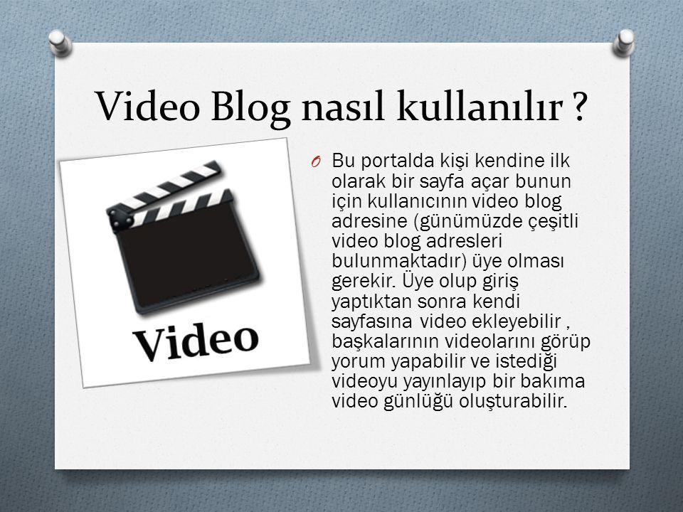 Video Blog nasıl kullanılır ? O Bu portalda kişi kendine ilk olarak bir sayfa açar bunun için kullanıcının video blog adresine (günümüzde çeşitli vide