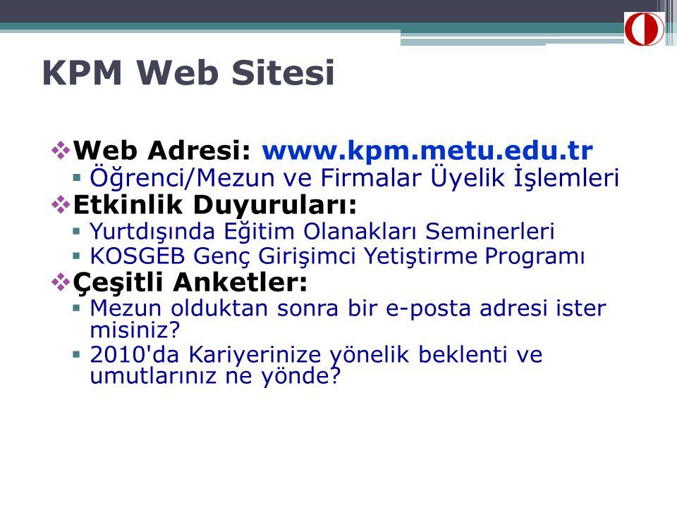 KPM Web Sitesi  Web Adresi: www.kpm.metu.edu.tr  Öğrenci/Mezun ve Firmalar Üyelik İşlemleri  Etkinlik Duyuruları:  Yurtdışında Eğitim Olanakları S