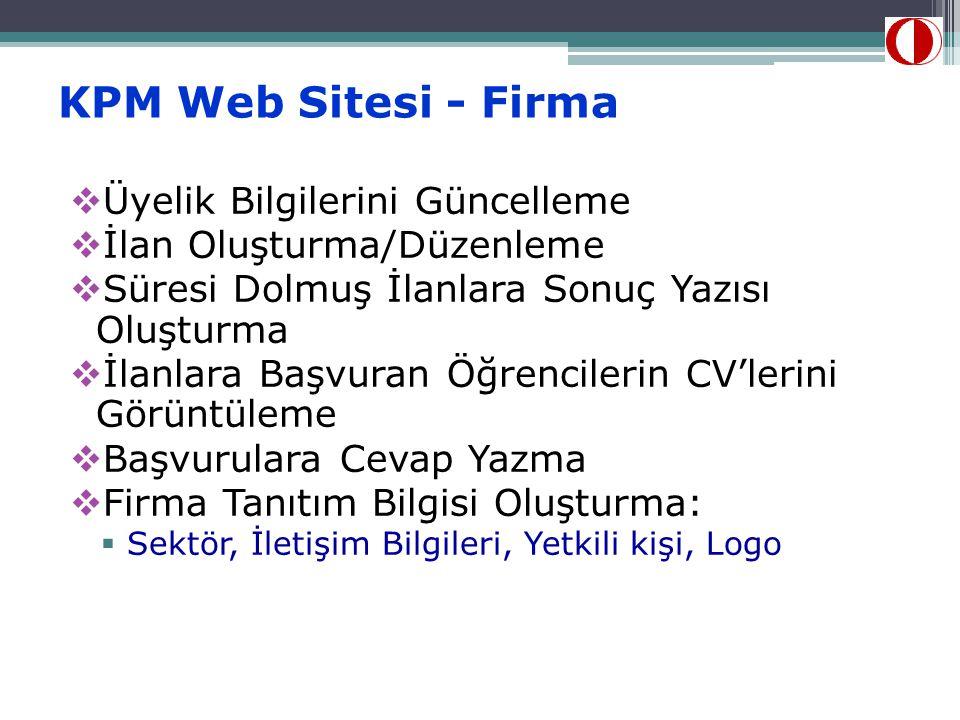KPM Web Sitesi - Firma  Üyelik Bilgilerini Güncelleme  İlan Oluşturma/Düzenleme  Süresi Dolmuş İlanlara Sonuç Yazısı Oluşturma  İlanlara Başvuran Öğrencilerin CV'lerini Görüntüleme  Başvurulara Cevap Yazma  Firma Tanıtım Bilgisi Oluşturma:  Sektör, İletişim Bilgileri, Yetkili kişi, Logo