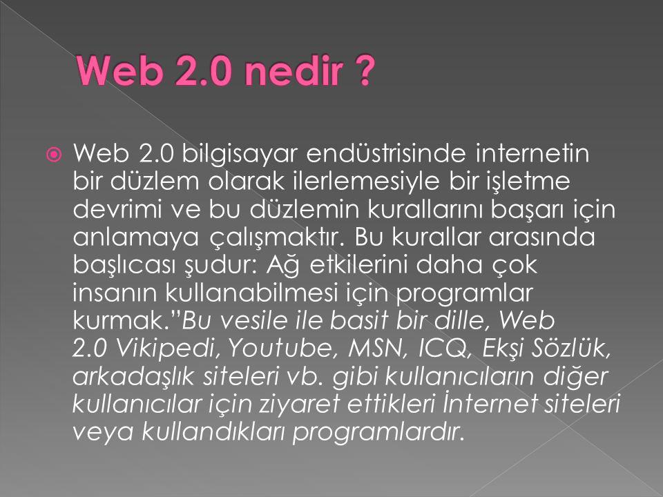  Web 2.0 bilgisayar endüstrisinde internetin bir düzlem olarak ilerlemesiyle bir işletme devrimi ve bu düzlemin kurallarını başarı için anlamaya çalışmaktır.