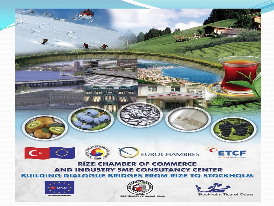 73 Web sitesi RİZE CHAMBER OF COMMERCE AND INDUSTRY SME CONSUTANCY CENTER BUILDING DIALOGUE BRIDGES FROM RİZE TO STOCKHOLM This programme is implemented under the coordination of TOBB and EUROCHAMBRES This Project implemented by turkish cember Rize Chember Of Commerce and Stockholm