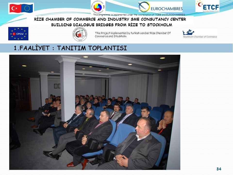 34 1.FAALİYET : TANITIM TOPLANTISI RİZE CHAMBER OF COMMERCE AND INDUSTRY SME CONSUTANCY CENTER BUILDING DIALOGUE BRIDGES FROM RİZE TO STOCKHOLM This programme is implemented under the coordination of TOBB and EUROCHAMBRES This Project implemented by turkish cember Rize Chember Of Commerce and Stockholm