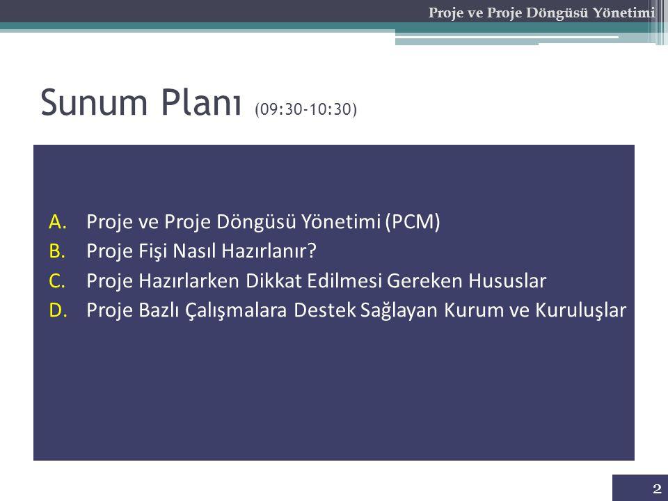 Sunum Planı (09:30-10:30) A.Proje ve Proje Döngüsü Yönetimi (PCM) B.Proje Fişi Nasıl Hazırlanır? C.Proje Hazırlarken Dikkat Edilmesi Gereken Hususlar