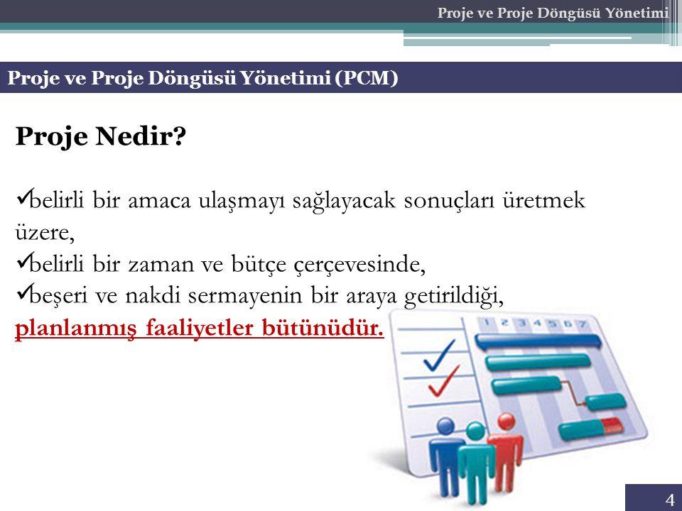 Proje ve Proje Döngüsü Yönetimi (PCM) Proje ve Proje Döngüsü Yönetimi Proje Nedir.