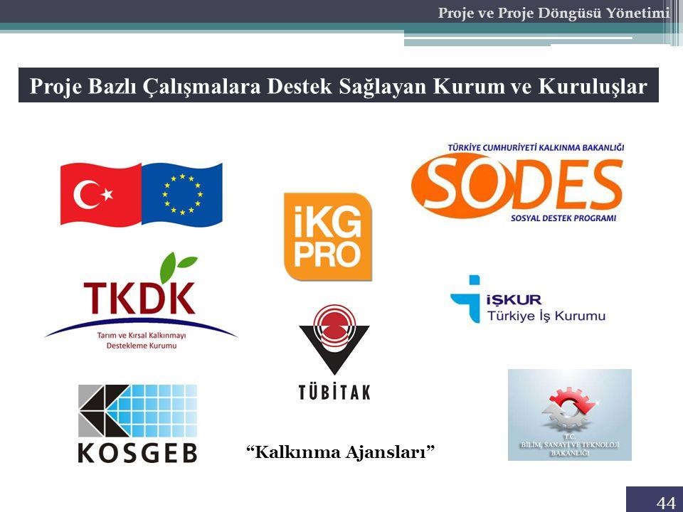 44 Proje ve Proje Döngüsü Yönetimi Proje Bazlı Çalışmalara Destek Sağlayan Kurum ve Kuruluşlar Kalkınma Ajansları