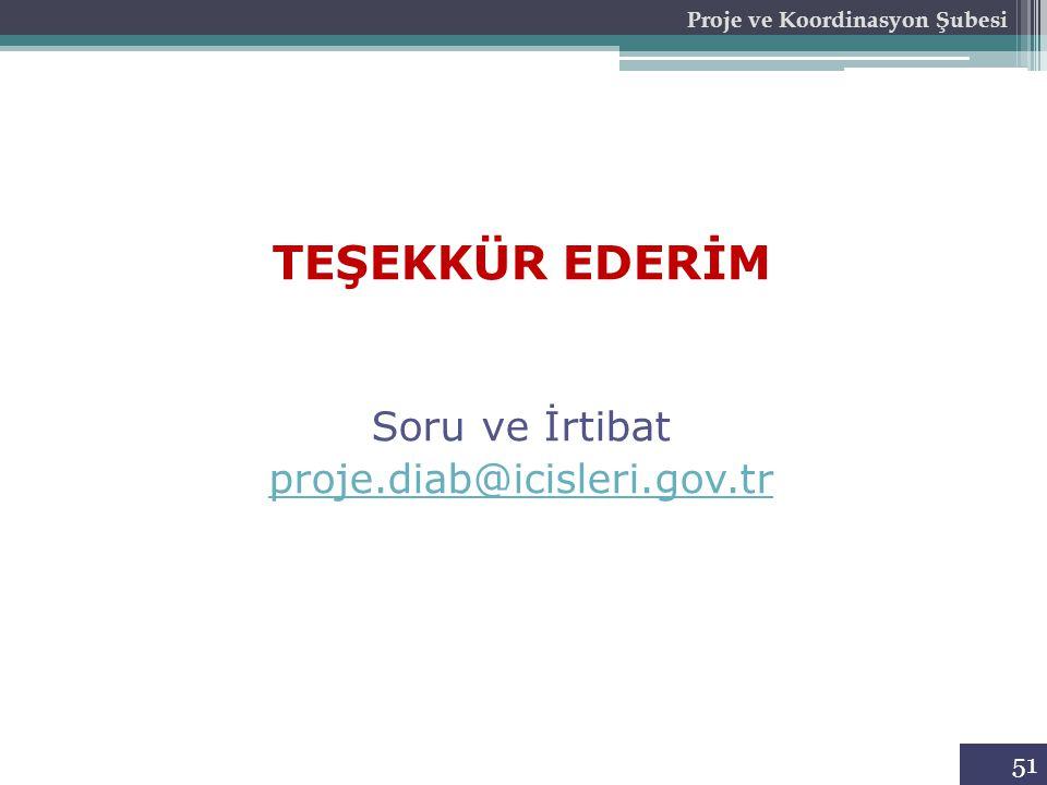 Proje ve Koordinasyon Şubesi 51 TEŞEKKÜR EDERİM Soru ve İrtibat proje.diab@icisleri.gov.tr