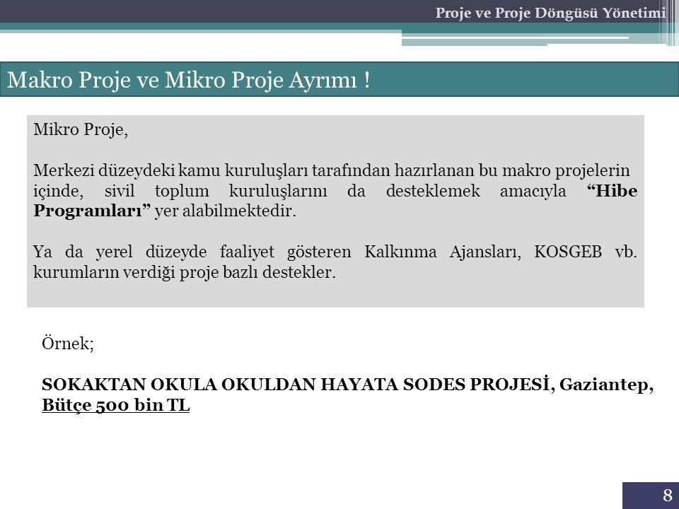 8 Proje ve Proje Döngüsü Yönetimi Makro Proje ve Mikro Proje Ayrımı .