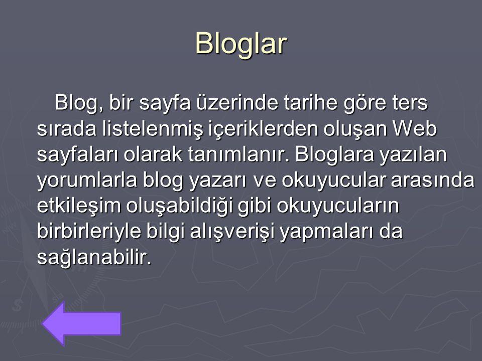 Bloglar Blog, bir sayfa üzerinde tarihe göre ters sırada listelenmiş içeriklerden oluşan Web sayfaları olarak tanımlanır. Bloglara yazılan yorumlarla
